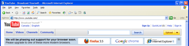 Internet Explorer 6 showing the sneaky end-of-life banner.