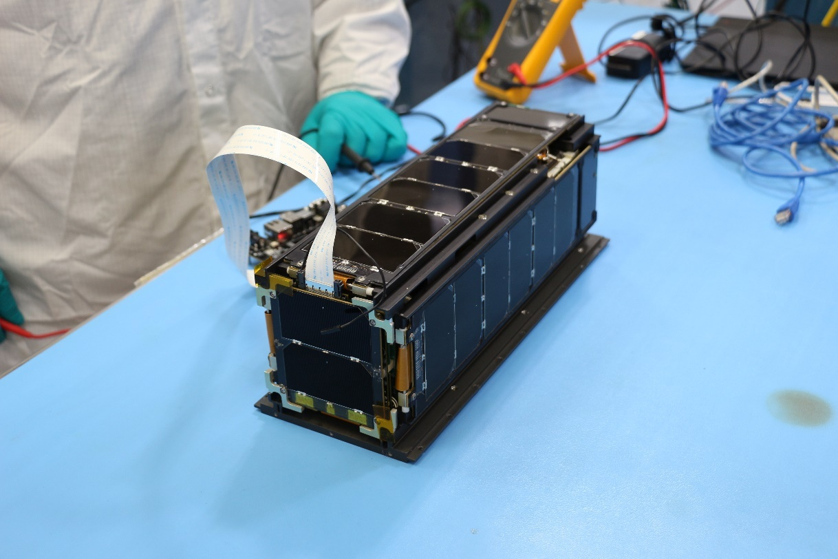 LightSail 2 undergoing health checks following vibration testing at the Air Force Research Laboratory.