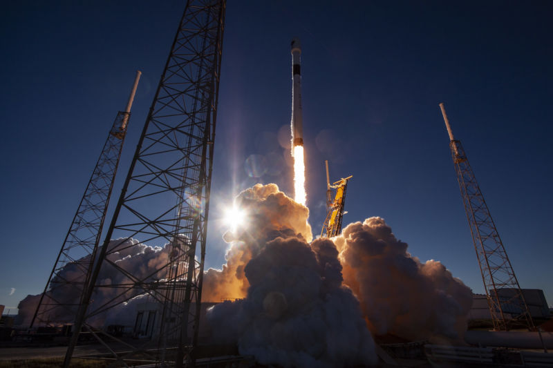 The first of the Air Force's new GPS 3 satellites launches on a SpaceX Falcon 9 rocket in December, 2018.