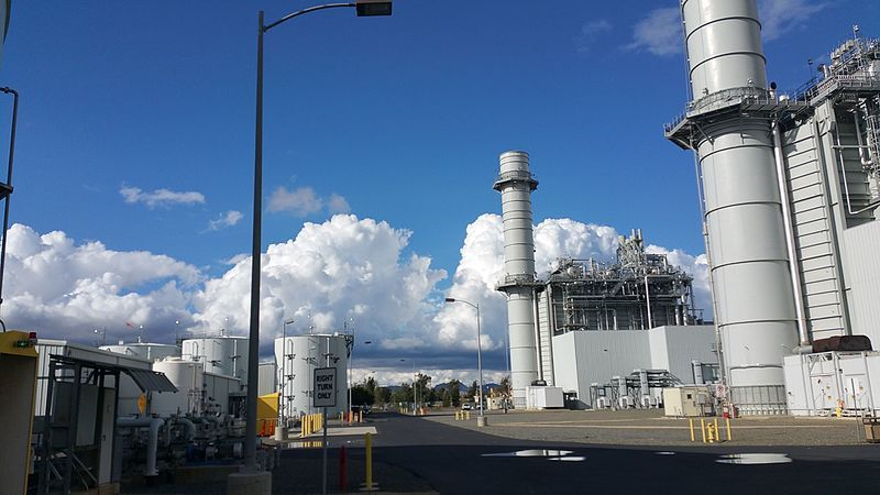 Two gas turbines at the Inland Empire Energy Center.