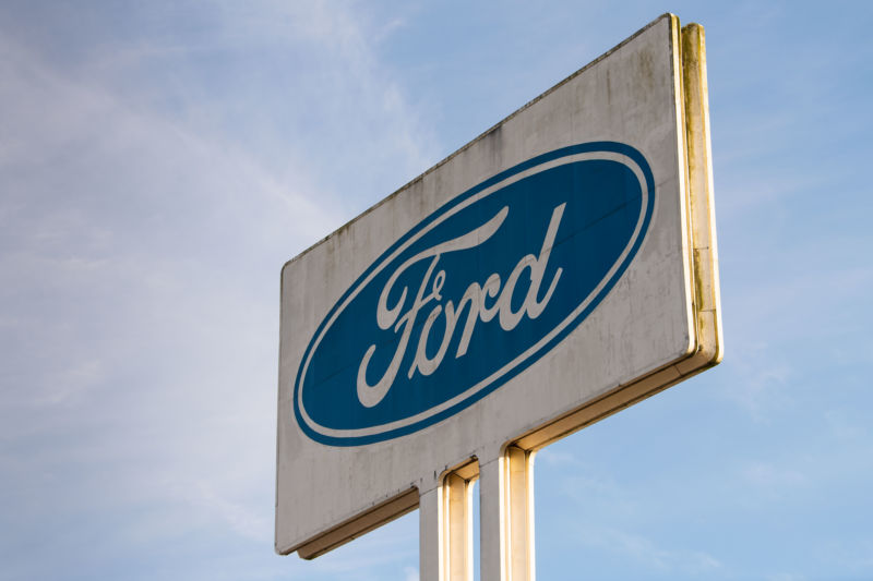 A Ford sign at the Ford Engine Plant in Bridgend, South Wales—one of the plants slated to be closed in the next 18 months.