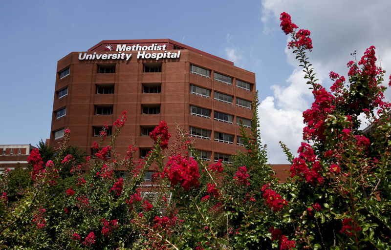 The exterior of Methodist University Hospital in Memphis, Tenn.