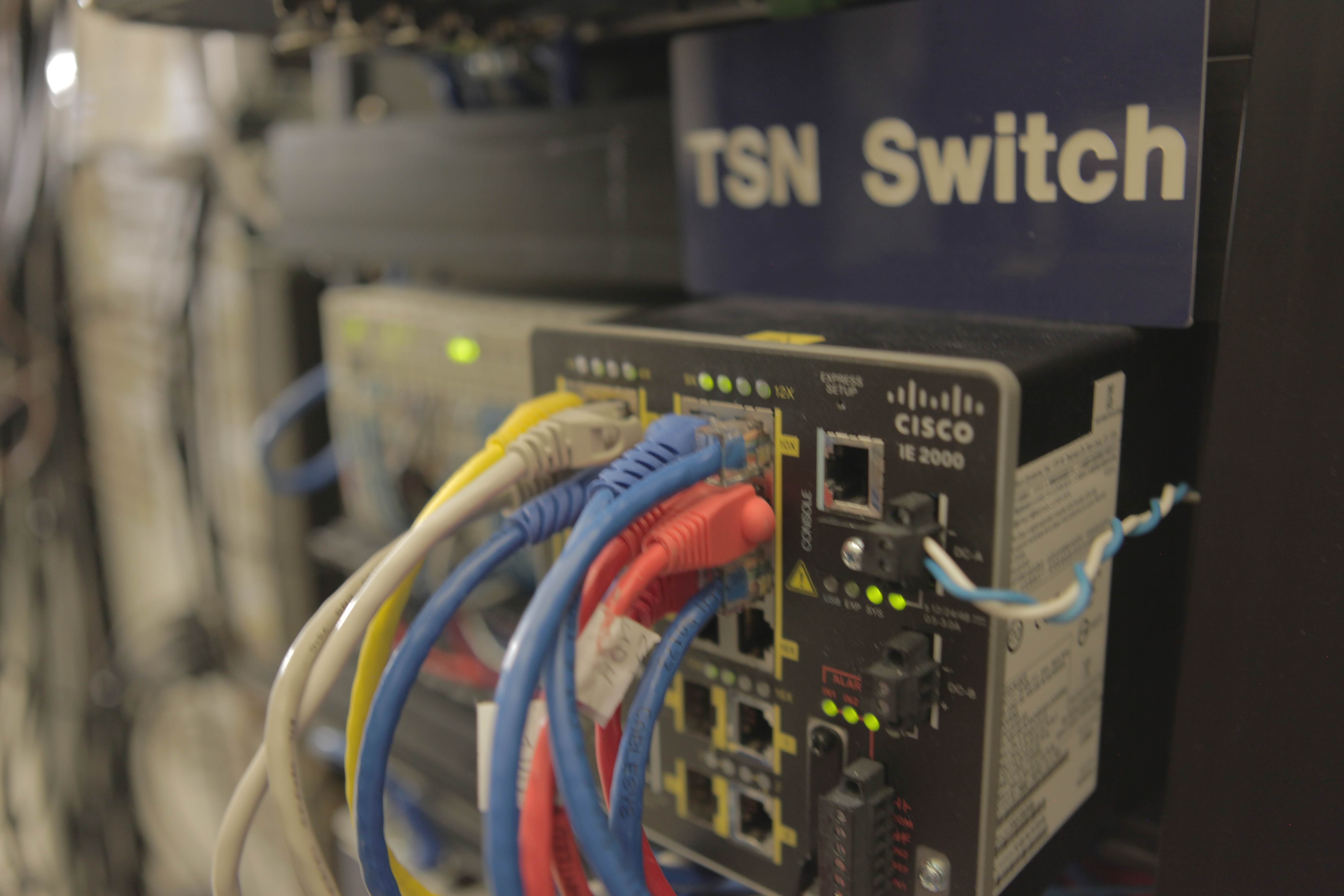 """A <a href=""""https://en.wikipedia.org/wiki/Time-Sensitive_Networking"""">time-sensitive networking switch</a> used in an industrial control traffic network."""