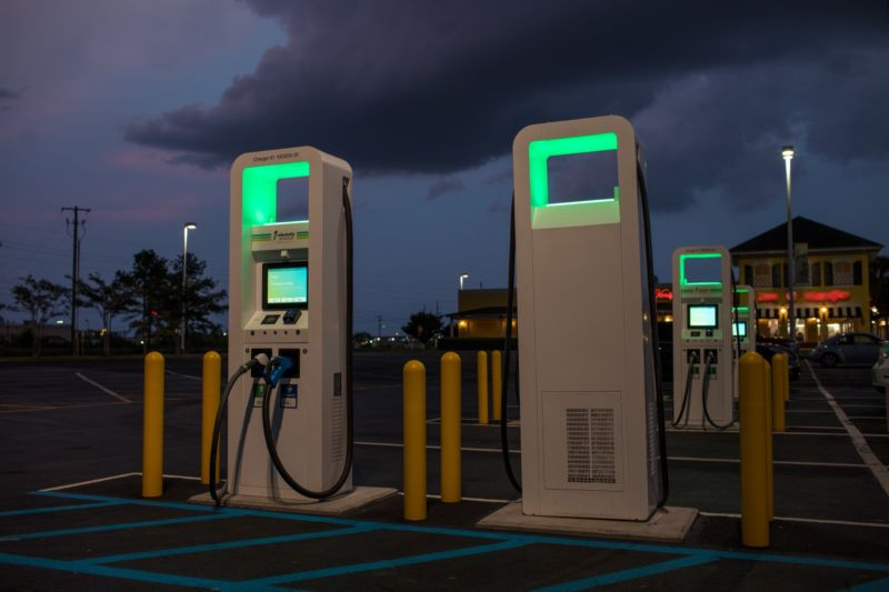 An Electrify America charging station.