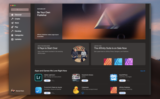 Apple's Mac app store has all kinds of apps, but heavy-duty creative apps like the Affinity suite are front-and-center.