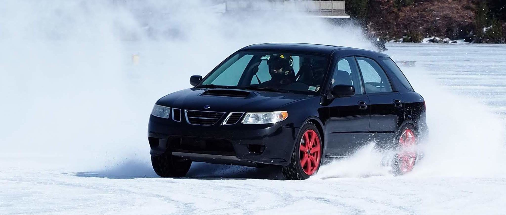 A Saab 9-2x Aero on the ice, which makes me sad about my now-deceased 9-2x—Ed.