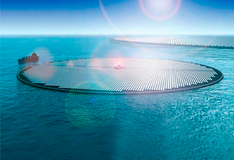 Solar panels floating on the ocean.