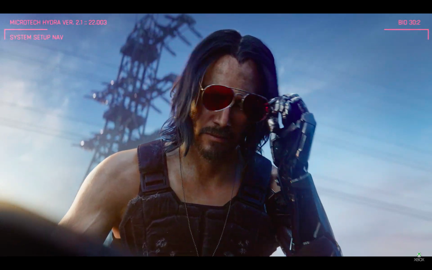 Keanu Reeves as a character in <em>Cyberpunk 2077</em>.