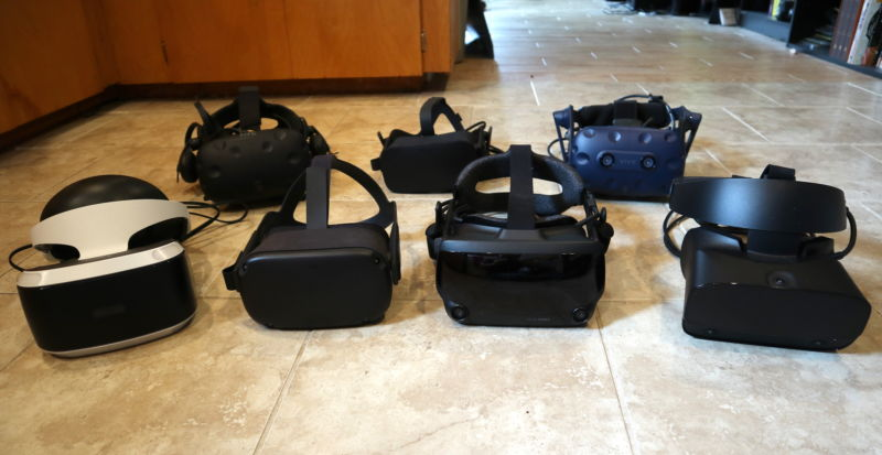 Front row: PlayStation VR, Oculus Quest, Valve Index, Oculus Rift S. Back row: HTC Vive, Oculus Rift, HTC Vive Pro. (Only headsets from the front row made our recommended-in-2019 list.)