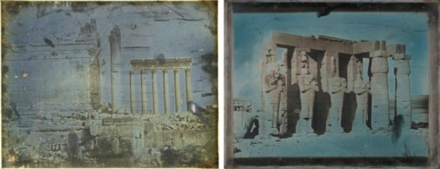 Examples of an ungilded (left) and gilded (right) daguerreotype created in 1844 by Joseph-Philabert Girault de Prangey. Baalbec,1844. Petitet Grand Temple, Girault de Prangey, Bibliothèque Nationale de France. Ramesseum, Thebes, 1844. Girault de Prangey, The Metropolitan Museum of Art.