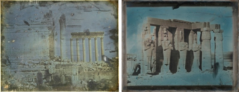 Examples of a gilded (left) and unglued (right) daguerreotype created in 1844 by Joseph-Philabert Girault de Prangey.
