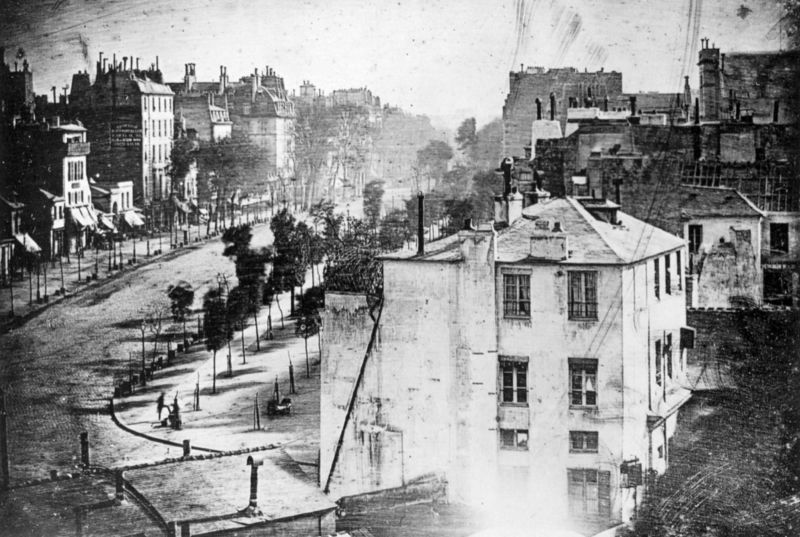 The earliest reliably dated photograph of people, taken by Louis Daguerre one spring morning in 1838.