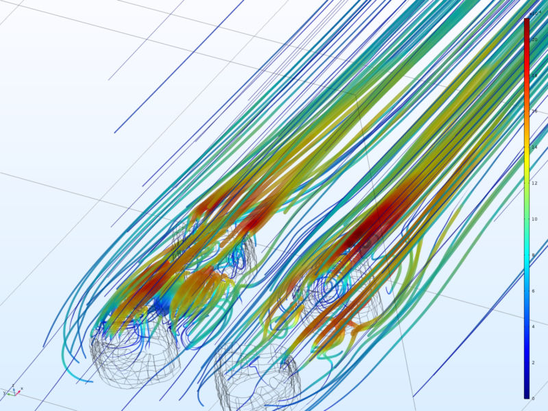 Image of bright lines representing fluid flow.
