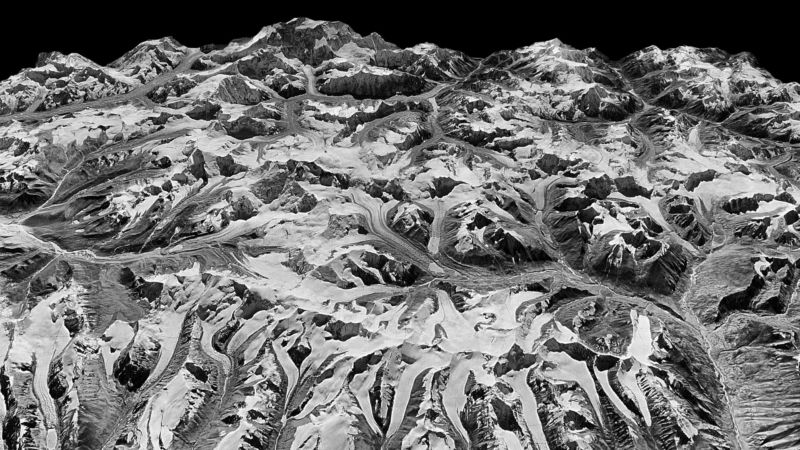 The researchers built 3D landscapes from spy satellite images like this one from the border between eastern Nepal and Sikkim, India, in 1975.