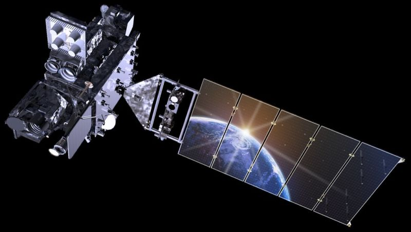 Artist's rendering of a NOAA satellite, with a reflection showing the Earth.
