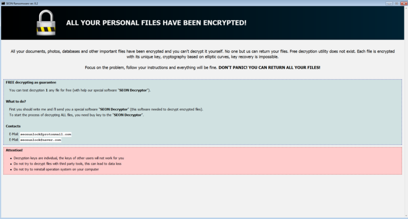 Screenshot of ransomware.