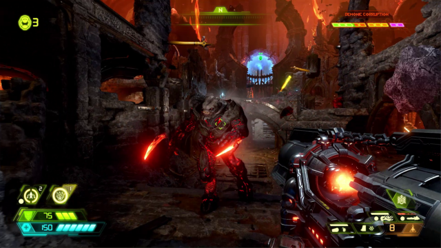 DOOM Eternal gameplay world premiere: Devil horns in the air