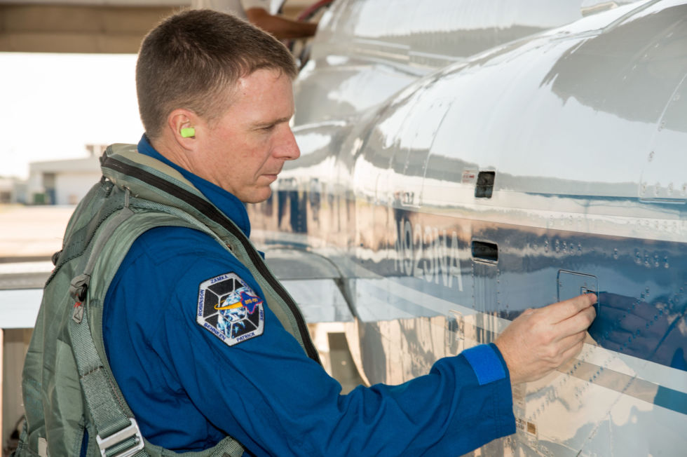 Expedition 43 Commander Terry Virts prepares for a T-38 flight in 2013.