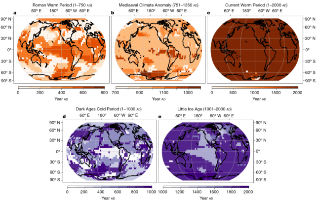 "Maps of the time of peak warming or cooling during each named time period. (The ""Medieval Climate Anomaly"" is also known as the ""Medieval Warm Period."")"