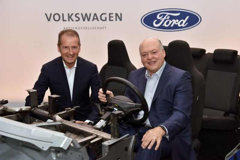 Volkswagen CEO Dr. Herbert Diess (L) and Ford President and CEO Jim Hackett (R) announced their companies are expanding their global alliance to include electric vehicles and will collaborate with Argo AI to introduce autonomous vehicle technology in the US and Europe.