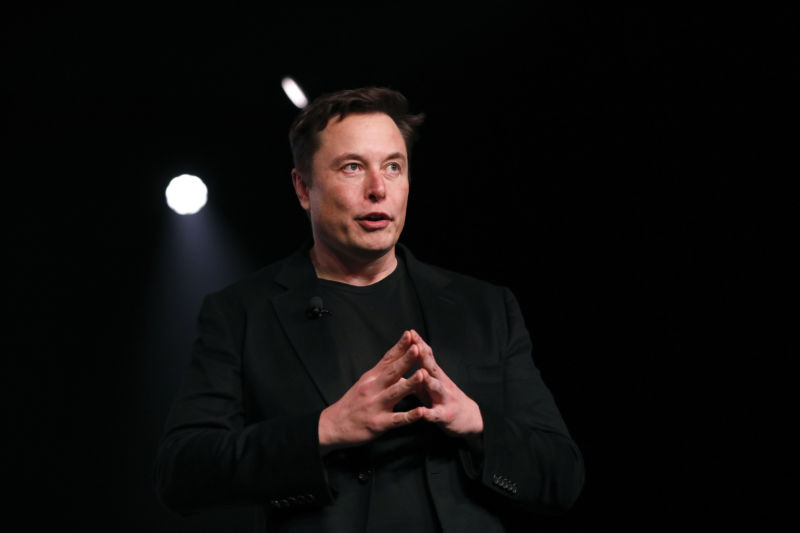 Elon Musk, co-founder and chief executive officer of Tesla Inc., speaks during an unveiling event for the Tesla Model Y crossover electric vehicle in Hawthorne, California, US, on Friday, March 15, 2019.