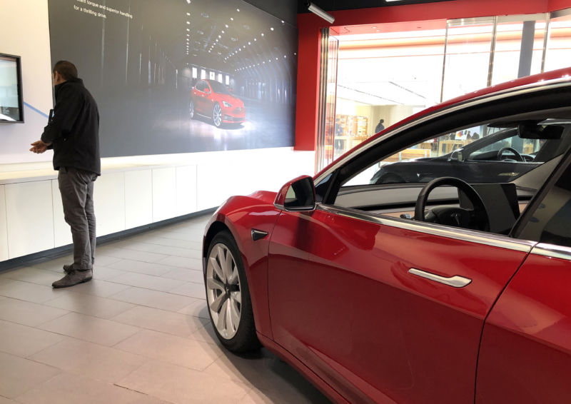A Model 3 at a Tesla showroom on March 1, 2019 in California.