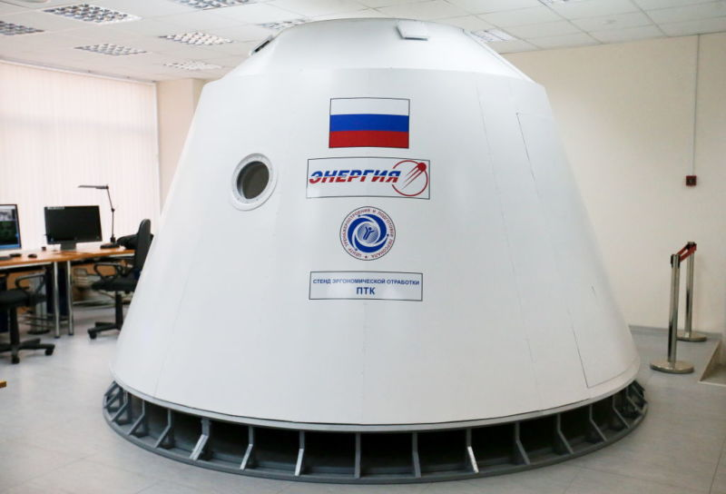 A mock-up of the next-generation manned spacecraft Federation (Federatsia, Federatsiya) at the offices of Korolev Rocket and Space Corporation in 2017.