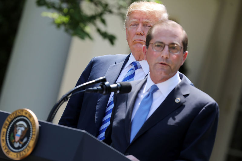 WASHINGTON, DC - MAY 11, 2018:  U.S. Health and Human Services Secretary Alex Azar (R) announced a 'blueprint' for lowering the cost of prescription medication with President Donald Trump in the Rose Garden at the White House.