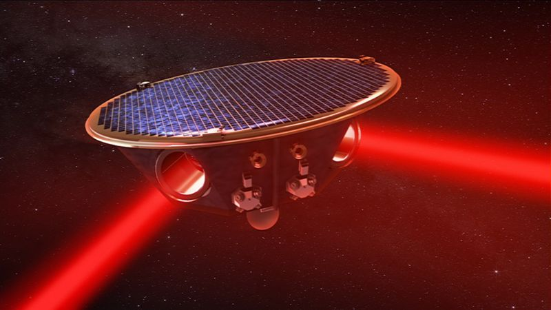 Image of a satellite emitting two laser beams.