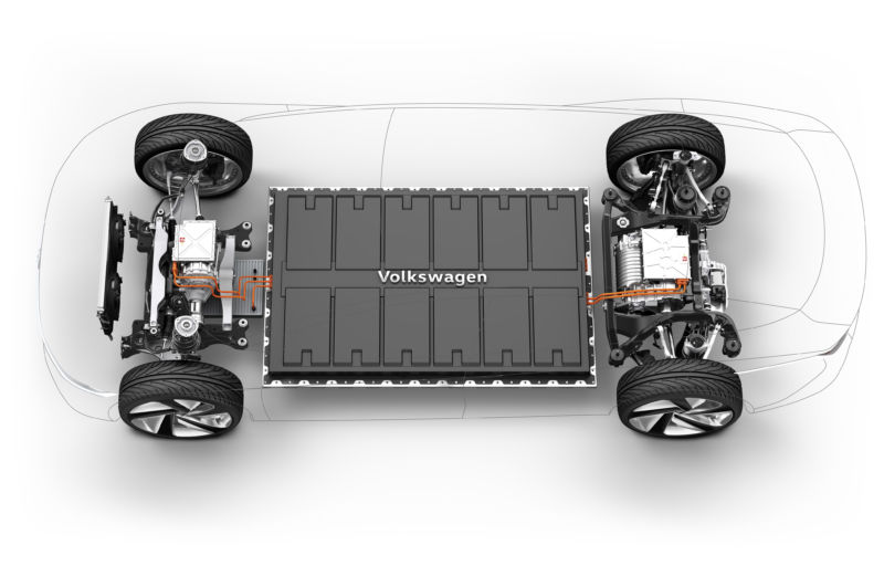 An illustration of VW's MEB modular electric vehicle architecture. VW is gearing up to put MEB-based vehicles into mass production in the next 18 months.