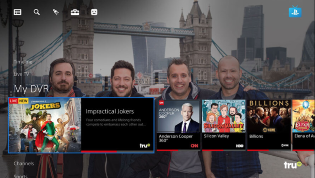 Screenshot of PlayStation Vue live television service.