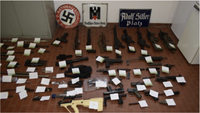 Military weapons seized in a raid by Italian police on a neo-fascist organization member's hone in Pavia province, Italy on July 15, 2019.