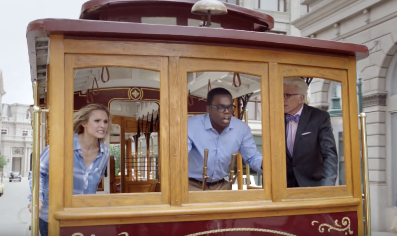 Image showing actors at the controls of a trolley.