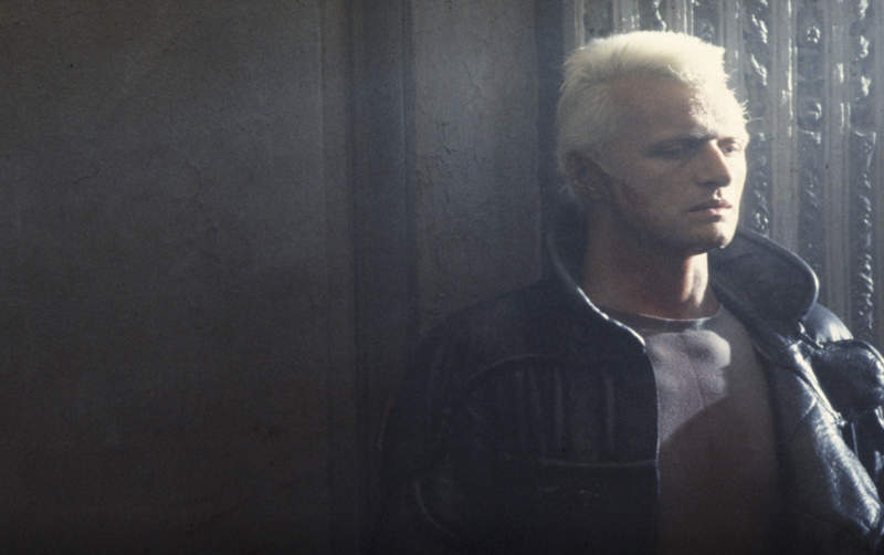 Hauer on the set of <em>Blade Runner</em>.