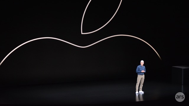Apple CEO Tim Cook on stage during an Apple event in September 2018.