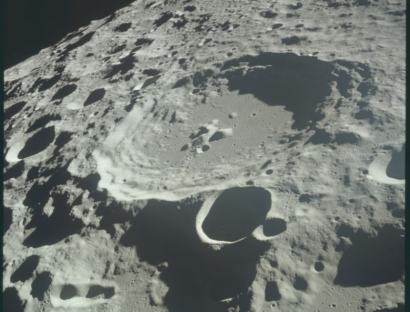 The surface of the Moon as seen from Apollo 11 while in lunar orbit.