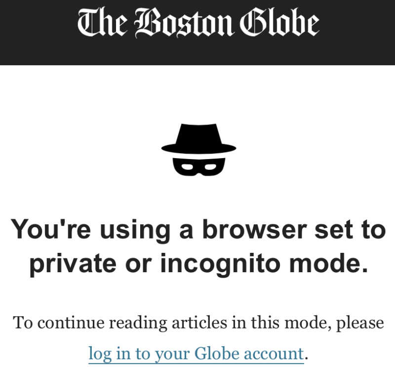 A notice on the Boston Globe website that says,