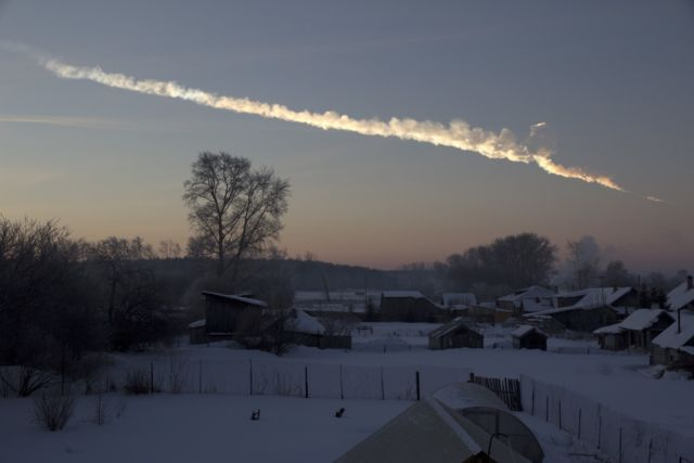 The Chelyabinsk meteor event in February 2013 had a vapor trail, pictured in this image captured about one minute after the house-sized asteroid entered Earth's atmosphere.