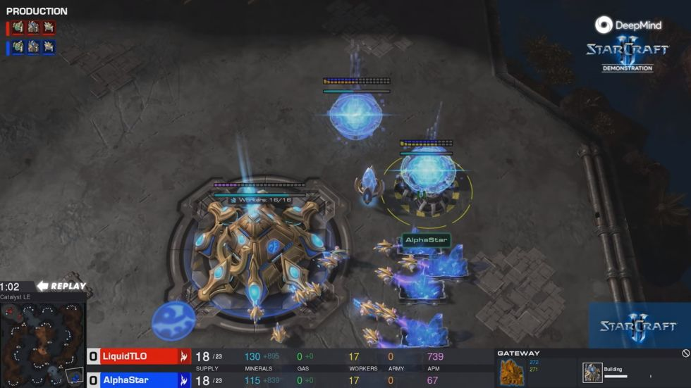A screenshot from the AlphaStar v TLO game in January.