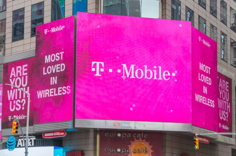 Signs outside a T-Mobile store in New York City describe the company as