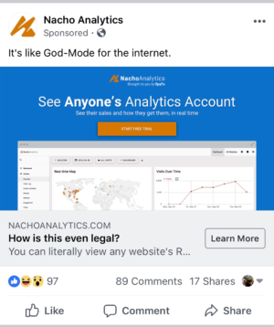 An ad for Nacho Analytics.