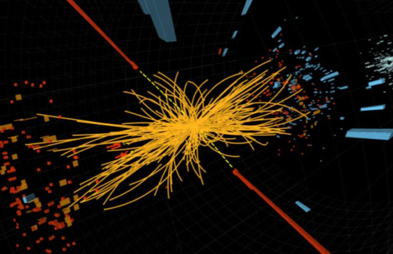 A collision in the LHC's Compact Muon Solenoid (CMS) detector produces a Higgs boson signature.