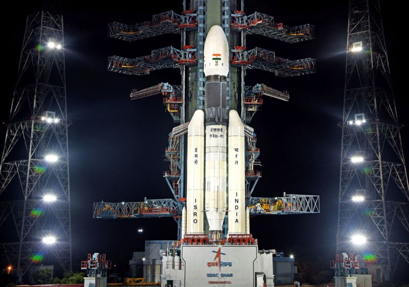India's GSLV Mark III rocket is seen on the launch pad with its lunar payload.