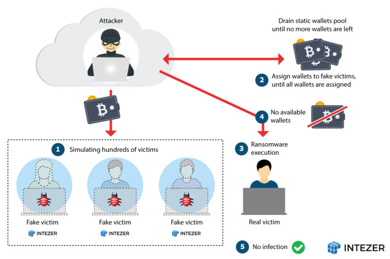 A diagram showing how a DoS shut down an ongoing ransomware campaign.