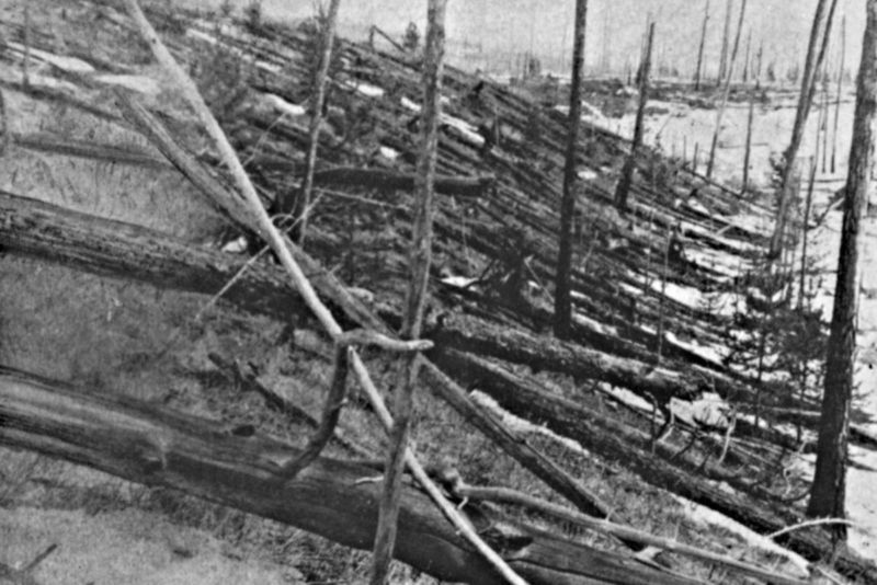 The famous Tunguska event of 1908 scorched an eight-kilometer row of trees, dropping many in a particular radial pattern from the center of the blast.