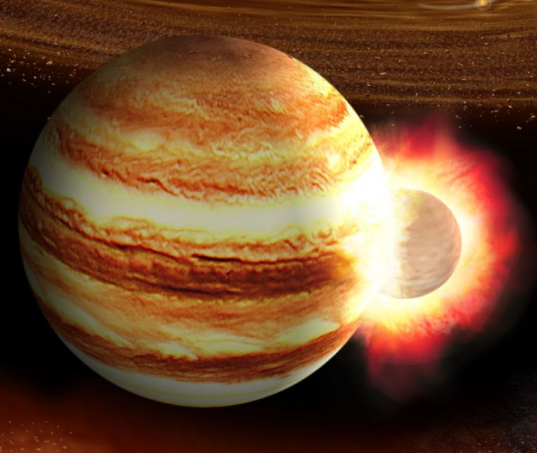 Image of an object smashing into Jupiter.