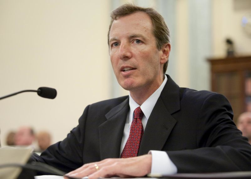 Paul Martin, then the nominee for Inspector General for NASA, answers questions during his confirmation hearing in front of the Senate Committee on Commerce, Science and Transportation in 2009.