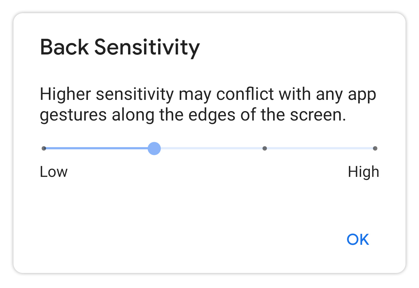 """The back gesture has a """"sensitivity"""" setting to help with phone cases."""