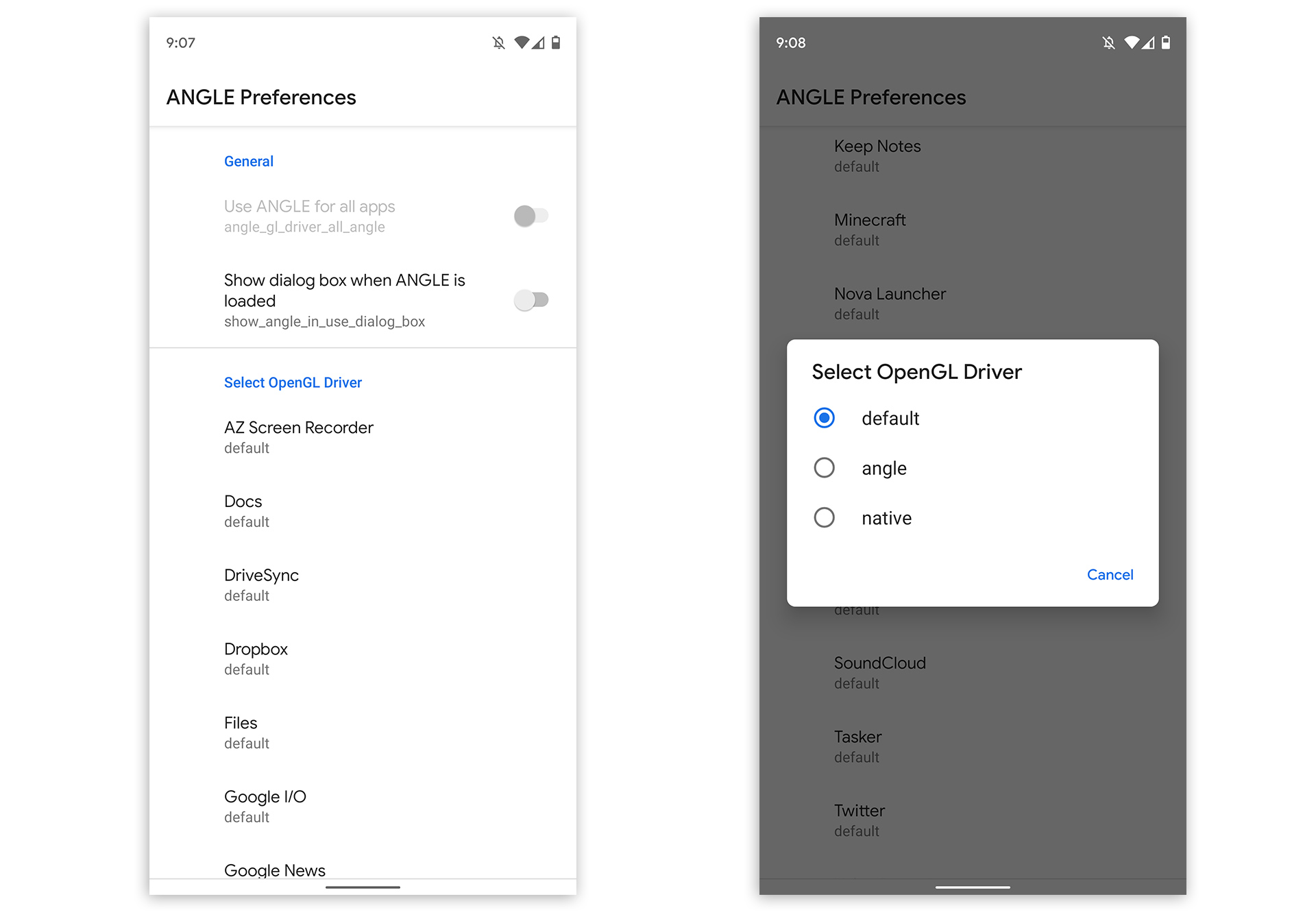 Buried in the developer settings are some settings for ANGLE. You can force an app to use it.
