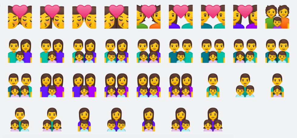 """These emojis are all missing skin-tone options. In the case of the """"Family"""" emoji, with groups of two, three, or four people of varying ages, genders, and skin tones, a proper implementation would involve tens of thousands of combinations."""